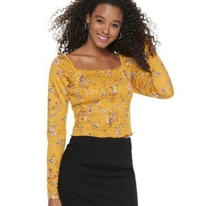 🔴 5/$15 Love, Fire Smocked Tee Gold Floral NWT